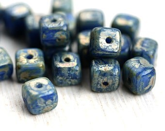 Dark Blue Cube beads, Picasso travertin luster, czech pressed glass beads - 5mm - 20Pc - 2548