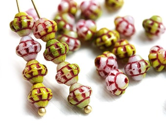 30pc Fancy Bicone beads, Green, Pink, Red Mixed color, Czech Glass 6mm bicones, spacer - 0330