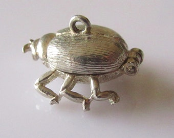 Large Silver Love Bug Beetle Opening Charm or Pendant