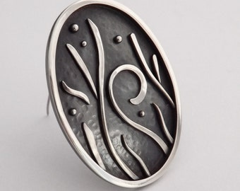Will-o'-Wisp Brooch One of a Kind Handmade Silver Swirl Pin - Gift for Her
