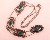 Antique Pendant Necklace Silver Plate Necklace Extra Long Pendant Green Molten Glass French Art Nouveau Jewelry