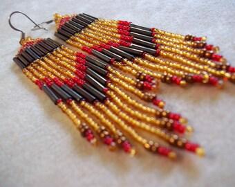 Seed Bead Earrings Fringe Earrings Bold Earrings Colorful Earrings Dramatic Earrings Boho Earrings Topaz Earrings Red and Gold Earrings Bead