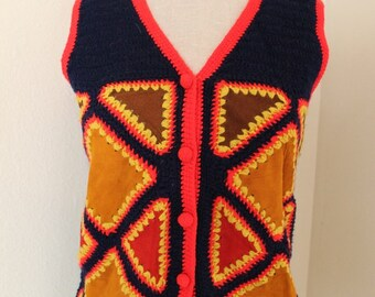 vintage 1970s leather patchwork vest bohemian hippie top Size small medium