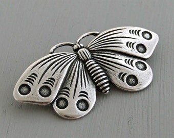 Silver Butterfly Brooch .. silver brooch, art nouveau, insect, butterfly pin, scarf pin, shawl pin