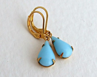 Pastel Blue Earrings .. blue earrings, wedding jewellery, powder blue, teardrop, blue dangle