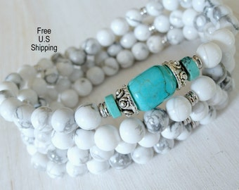Turquoise, Howlite,108 mala, Mala Bracelet or Necklace,Reiki charged, Buddhist Rosary, Prayer beads, Gemstone, wrist mala, mala beads,