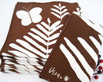 10 Vintage Vera Napkins, Fern Plants Butterfly, Ladybug, White Brown