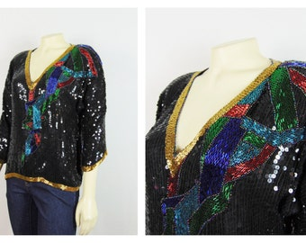 Vintage Shirt, Vintage Blouse, Black Sequin Blouse, Blue Turquoise Red Green Gold Beads V Neck Deadstock NWT Size Medium