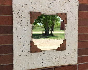 Shabby chic western decor mirror