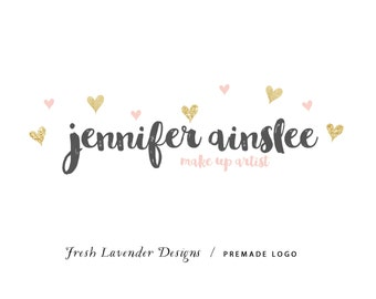 Custom Logo Design Premade Logo Design and Watermark for Photographers and Small Businesses Watercolor and Glitter Heart Confetti
