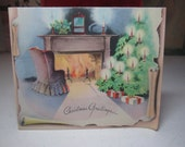 RESERVED 4 D 1940's christmas card with colorful fireplace scene retro chair, decorated mantle and christmas tree decorated with candles