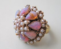 Enormous Vintage 1960s Domed Pink Opal and Faux Pearl Cocktail Ring