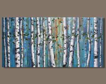 FREE SHIP abstract painting, birch tree painting, birch trees art, forest painting, landscape painting, blue white, art on canvas, 18x36