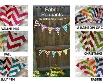 Pennant Banner YOU DESIGN Fabric Chevron Duck Cloth Washable Rearrangable Teacher Classroom Home Kids Birthday Party College Dorm Decor