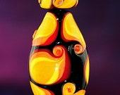 Flamenco Fruit Handmade Lampworked Glass Beads OOAK Set of Three Black Yellow Orange Red Pressed Shield Focal Rondelles Lampwork