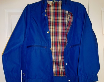 Vintage Izod Lacoste Jacket Women's Jacket Blue Raincoat Rain Jacket M Medium Hood Removable Sleeves
