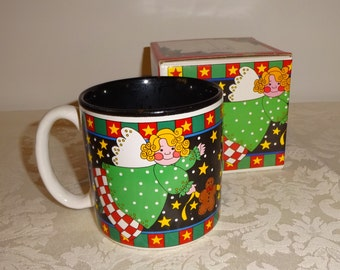 Vintage Mug Christmas Ceramic Angels and Stars Potpourri Press 1994 with Box