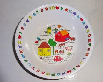Vintage Child's Bowl Farm Alphabet Melamine Melmac Anacapa Melamine Ware 1987
