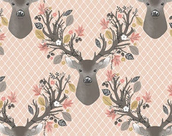 Nursing Pillow Cover - Stag Forest and Minky Boppy Cover - Girl, Stag, Fawn, Flowers, Deer