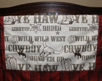 Brown Cowboy, Brown Minky, and Red Barn Wood Crib Bedding Ensemble with Bordered Blanket
