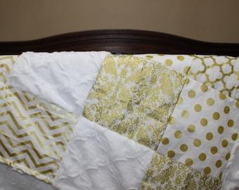Gold Baby Blanket - White Gold Dot, White Gold Chevron, Gold Damask, Gold Quatrfoil, and White Lattice Minky Patchwork Baby Blanket