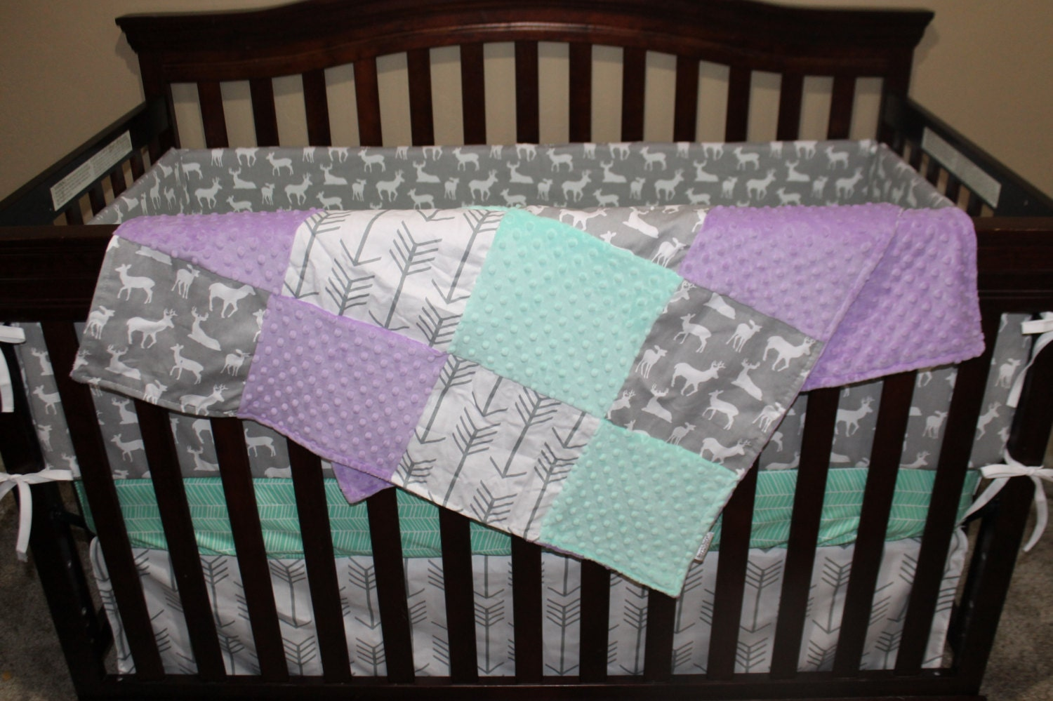 White Gray Arrows Gray Deer Lilac And Mint Crib Bedding