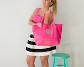 Hot Pink Creme Navy Mint Tote Purse Bag