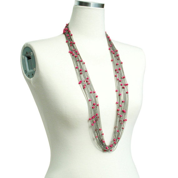 Boho Chic Long Necklace - Pink