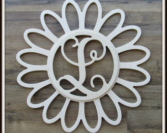 "Daisy Door Hanger with Monogram Letter - Unpainted Wood - 22"" size - Kitchen - Bedroom - Family - Wooden Letter - Wall Hanging - Flower"