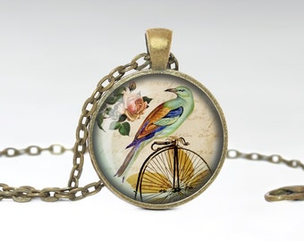 Bird on Bicycle Necklace Bird Jewelry Boho Jewelry