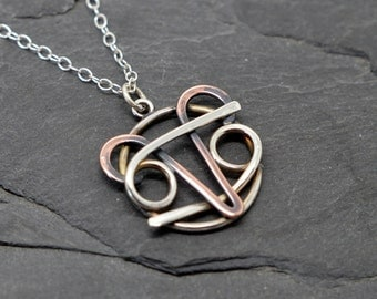 Aries cancer combined zodiac necklace oxidised