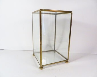 Vintage Glass Brass Box - Square Glass Box - Glass Brass Display Case