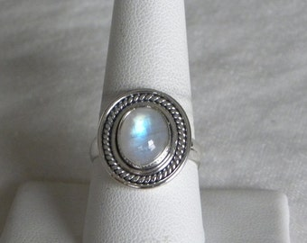 Moonstone Ring Handmade Nice Blue Flash 10x8mm Natural Gemstone Ring Sterling Silver Ring Size 9 1/4 Take 20% Off Rainbow Moonstone Jewelry