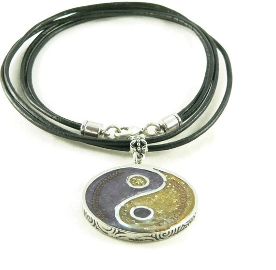 Orgone Energy Pendant Necklace - Large Yin-Yang Pendant with Leather Cord Necklace - Amethyst and Citrine - Orgone Jewelry - Artisan Jewelry