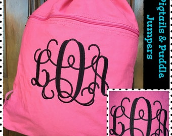 Monogram Cinch Sack, Canvas Backpack, Drawstring Bag, Monogram Canvas Bag, Canvas Bag, Cinch Sack Bag, Draw String Backpack