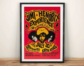 JIMI HENDRIX POSTER: Vintage Tour Poster Reproduction, Rock Concert Art Print Wall Hanging
