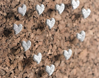 Glitter Heart Push Pins in Silver. Home Office Bulletin Board Organization. Perfect for Weddings, Bridal or Baby Showers- Set of 12