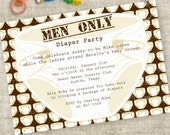Men Only Diaper Party Man Shower Invitation - Chuggies and Huggies, Diapers and Dads Printable Invitation