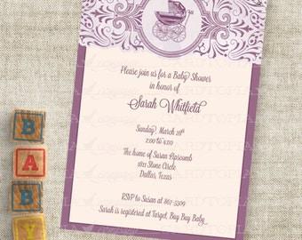 Purple Baby Girl Buggy Shower Inviation with Baby Pram Custom Personalized Digital Printable DIY Professional Printing Option
