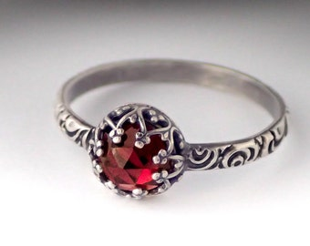 Garnet Ring, Garnet Birthstone Ring, Sterling Silver Pattern Band, Custom created in your size, Vintage Style Ring, January Birthstone Ring