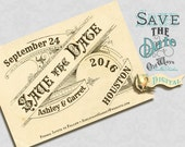 Printable Vintage Save the Date Card with Antique Typography, French Style - Custom 4x6 Digital JPEG or PDF File with Optional Postcard Back