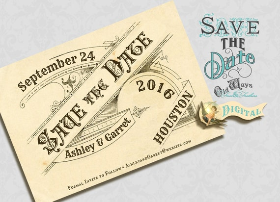 Printable Save the Date Card with Optional Postcard Back - Antique Typography, Vintage Save the Date, French Style - 4x6 Digital File