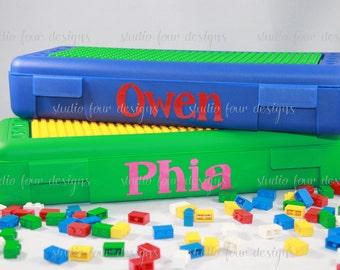 BACK TO SCHOOL Building Bricks Storage Container, Building Blocks theme, Birthday Gift Idea, Stocking Stuffer