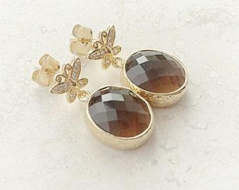 Gold Butterfly Earrings - Bezel Stud Earrings - Smoky Quartz Jewelry - Gold Drop Earrings - Fancy Earrings - Oval Drop Earrings