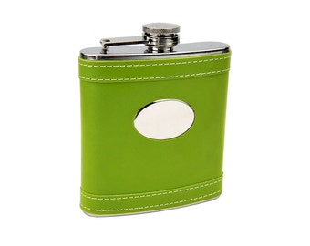 6 ounce Hip Flask Lime Green eegw -  Personalization included