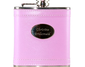 6 ounce Hip Flask Pink-  Personalization included