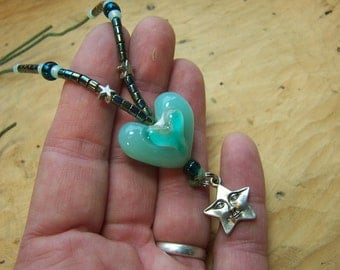 Starheart! Sea green healing heart pendant necklace, extra large lampwork heart,smiling starface charm, sailors dream of the green flash