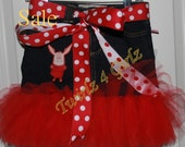SALE - Size 5 Ready to Ship - Denim Tutu Skirt with Olivia the Pig applique and reversible red and white polka dot ribbon