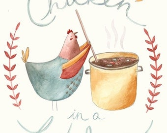 Snug as a Chicken in a Kitchen Illustration Print. Chicken Kitchen Art