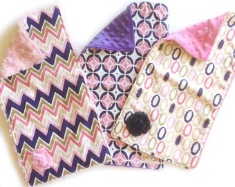 SALE Glitz & Glam Burp Cloth Set of 3 - Baby Girl Burp Cloth with pink purple minky + rosette